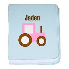 Jaden - Pink/Brown Tractor baby blanket