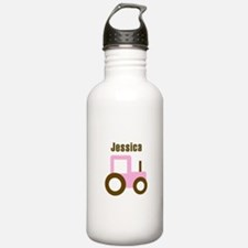 Jessica - Pink/Brown Tractor Water Bottle