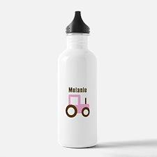 Melanie - Pink/Brown Tractor Water Bottle