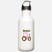 Michelle - Pink/Brown Tractor Water Bottle