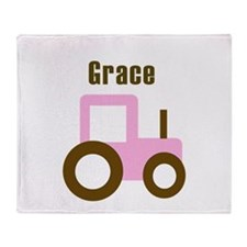 Grace - Pink Tractor Throw Blanket