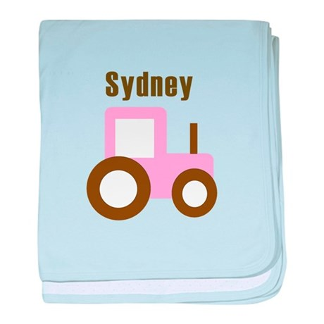 Sydney - Pink Tractor baby blanket