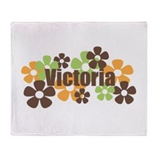 Victoria - Fall Flowers Throw Blanket