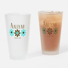 Aaliyah - Blue/Brown Flowers Pint Glass