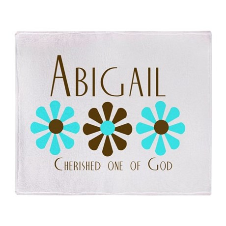 Abigail - Blue/Brown Flower Throw Blanket