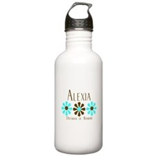 Alexia - Blue/Brown Flowers Water Bottle