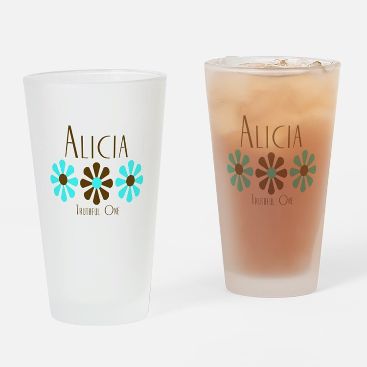 Alicia - Blue/Brown Flowers Pint Glass