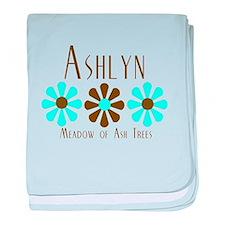 Ashlyn - Blue/Brown Flowers baby blanket