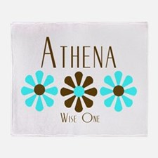 Athena - Blue/Brown Flowers Throw Blanket