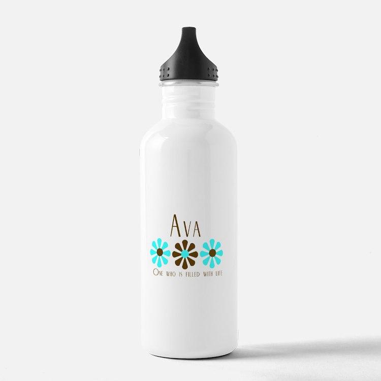 Ava - Blue/Brown Flowers Water Bottle