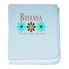 Brianna - Blue/Brown Flowers baby blanket