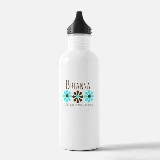 Brianna - Blue/Brown Flowers Sports Water Bottle