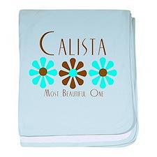 Calista - Blue/Brown Flower baby blanket