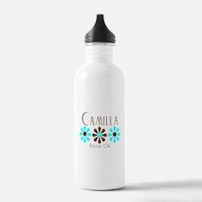 Camilla - Blue/Brown Flowers Water Bottle