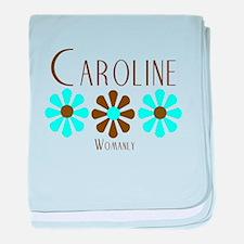 Caroline - Blue/Brown Flowers baby blanket