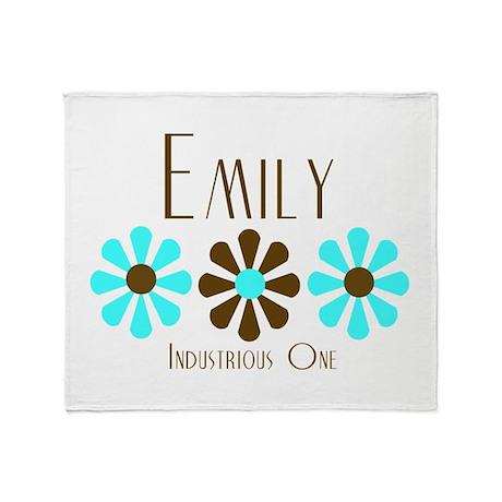 Emily - Blue/Brown Flowers Throw Blanket