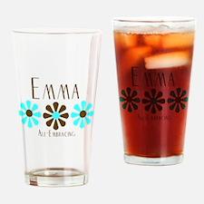 Emma - Blue/Brown Flowers Pint Glass