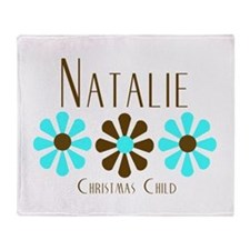 Natalie - Blue/Brown Flowers Throw Blanket