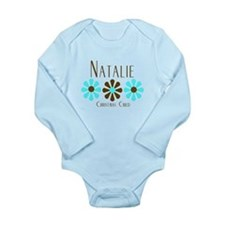 Natalie - Blue/Brown Flowers Long Sleeve Infant Bo