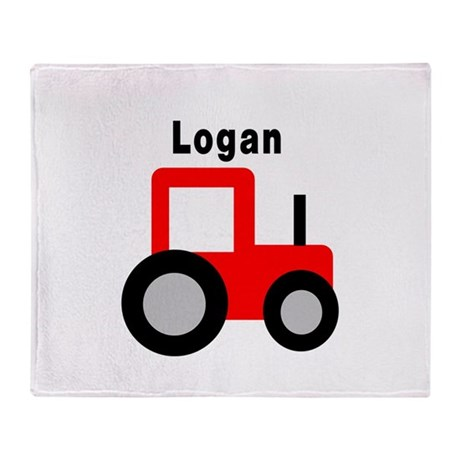 Logan - Red Tractor Throw Blanket