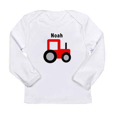 Noah - Red Tractor Long Sleeve Infant T-Shirt