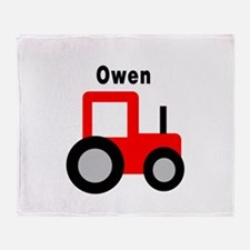 Owen - Red Tractor Throw Blanket