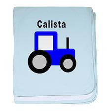 Calista - Blue Tractor baby blanket
