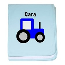 Cara - Blue Tractor baby blanket
