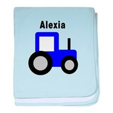 Alexia - Blue Tractor baby blanket