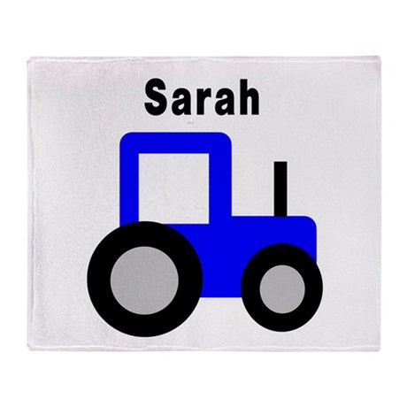 Sarah - Blue Tractor Throw Blanket