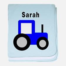 Sarah - Blue Tractor baby blanket