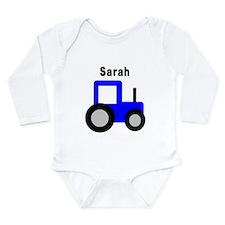 Sarah - Blue Tractor Long Sleeve Infant Bodysuit