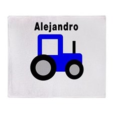 Alejandro - Blue Tractor Throw Blanket