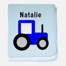 Natalie - Blue Tractor baby blanket