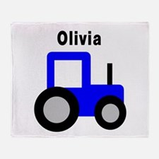 Olivia - Blue Tractor Throw Blanket