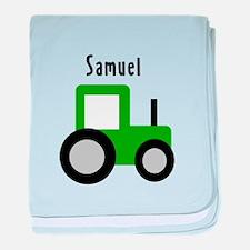 Samuel - Green Tractor baby blanket