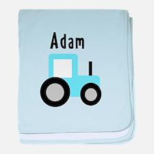 Adam - Light Blue Tractor baby blanket