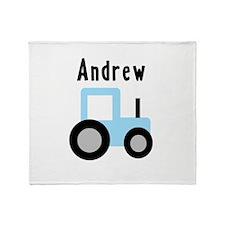 Andrew - Baby Blue Tractor Throw Blanket