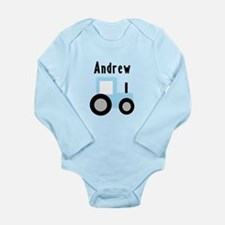 Andrew - Baby Blue Tractor Long Sleeve Infant Body
