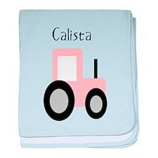 Calista - Pink Tractor baby blanket