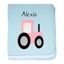 Alexia - Pink Tractor baby blanket