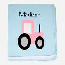Madison - Pink Tractor baby blanket