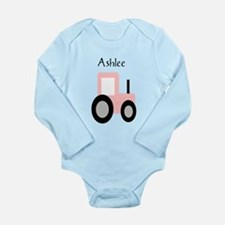 Ashlee - Pink Tractor Long Sleeve Infant Bodysuit