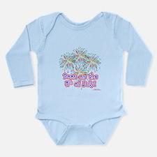 Born on the 4th of Jul Long Sleeve Infant Bodysuit