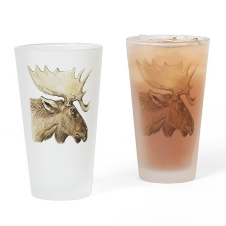 moose drawing Drinking Glass