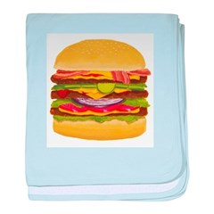 Cheeseburger king baby blanket