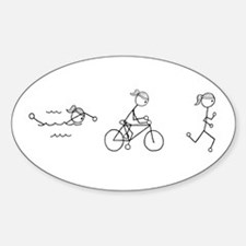 Triathlon Girl Black No Words Sticker (Oval)