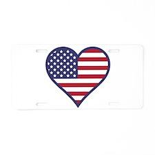 American Flag Heart Aluminum License Plate