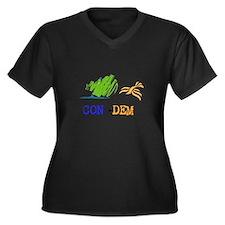 Con-Dem Women's Plus Size V-Neck Dark T-Shirt
