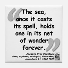 Cousteau Sea Quote Tile Coaster